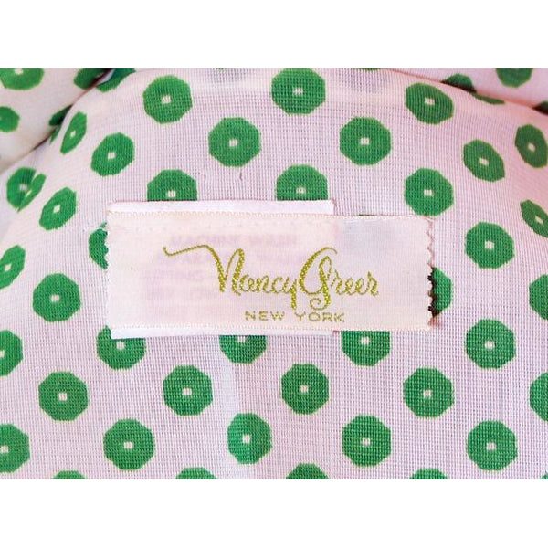 Vintage Geometric Print Dress Green & White Nancy Greer 1970s 38-27-FREE - The Best Vintage Clothing  - 6
