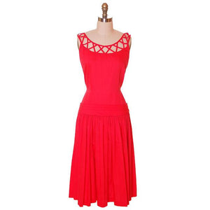 Vintage Red Cotton Dropped Waist Dress 1950s Nice Details 36-30-37 - The Best Vintage Clothing  - 1