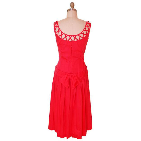 Vintage Red Cotton Dropped Waist Dress 1950s Nice Details 36-30-37 - The Best Vintage Clothing  - 3