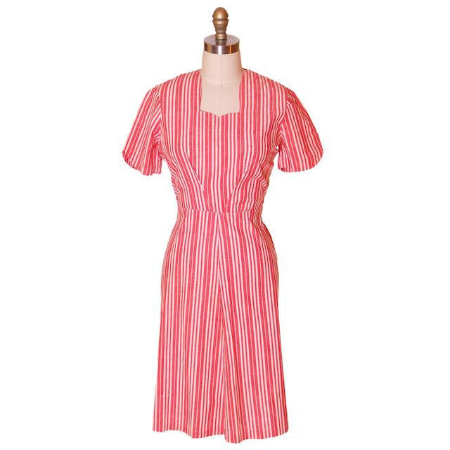 Vintage Cotton Printed  House Dress Frock Red Stripes  Early 1940s 40-30-40 - The Best Vintage Clothing  - 1
