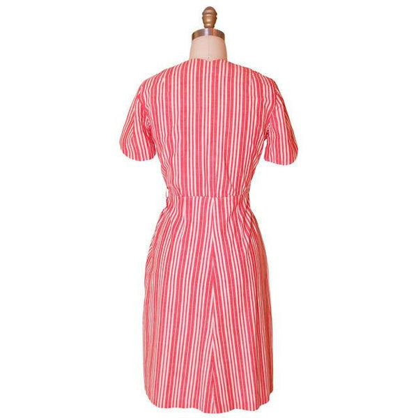 Vintage Cotton Printed  House Dress Frock Red Stripes  Early 1940s 40-30-40 - The Best Vintage Clothing  - 3