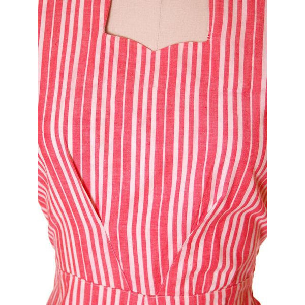 Vintage Cotton Printed  House Dress Frock Red Stripes  Early 1940s 40-30-40 - The Best Vintage Clothing  - 4