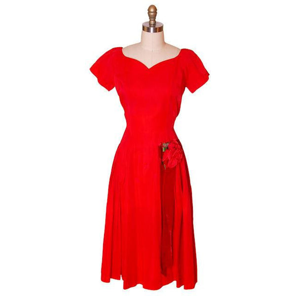 Vintage Red Rayon Satin Party Dress Gay Gibson 1950s 35-28-Free - The Best Vintage Clothing  - 1