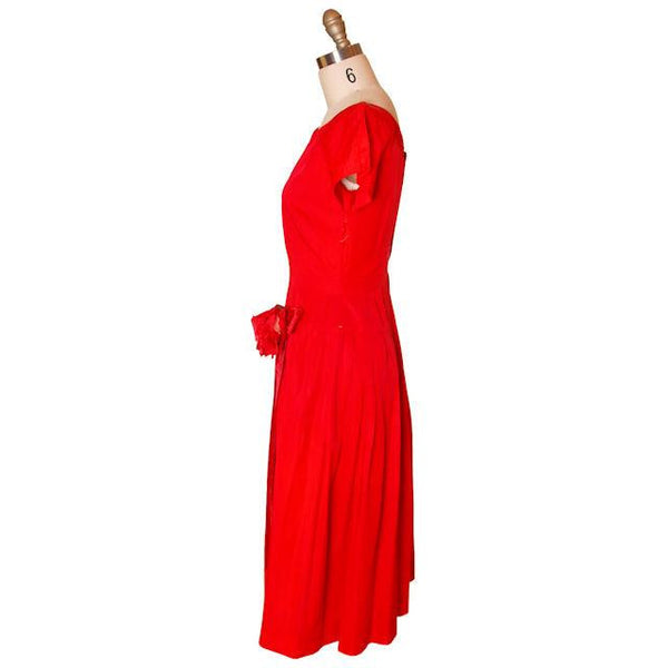 Vintage Red Rayon Satin Party Dress Gay Gibson 1950s 35-28-Free - The Best Vintage Clothing  - 2