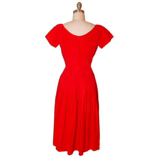 Vintage Red Rayon Satin Party Dress Gay Gibson 1950s 35-28-Free - The Best Vintage Clothing  - 3