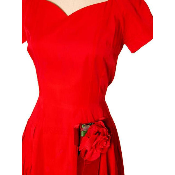 Vintage Red Rayon Satin Party Dress Gay Gibson 1950s 35-28-Free - The Best Vintage Clothing  - 4
