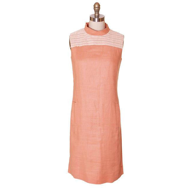 Vintage Linen Sheath Dress Apricot 1960s Andrea Gayle 36-34-37 - The Best Vintage Clothing  - 1