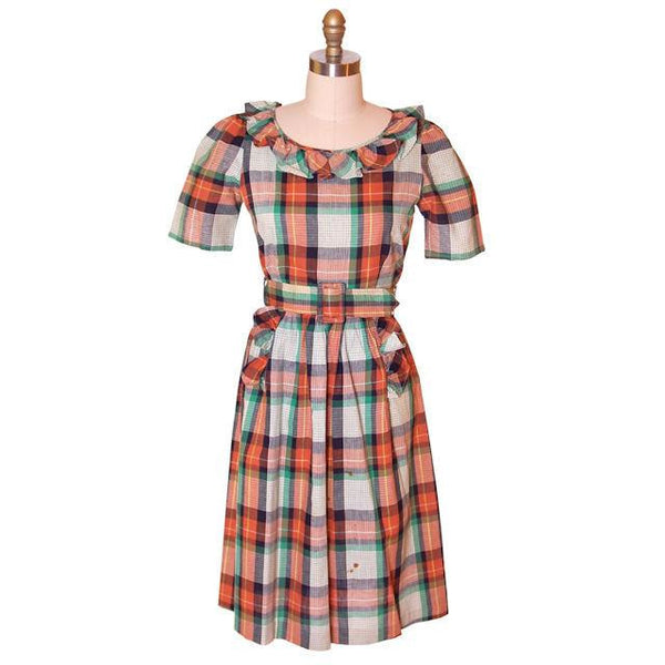 Vintage Cotton Printed  House Dress Frock Green Plaid  Early 1940s 35-28-46 - The Best Vintage Clothing  - 1