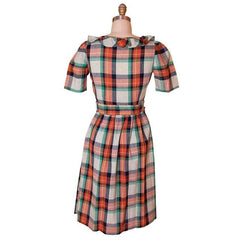 Vintage Cotton Printed  House Dress Frock Green Plaid  Early 1940s 35-28-46 - The Best Vintage Clothing  - 3