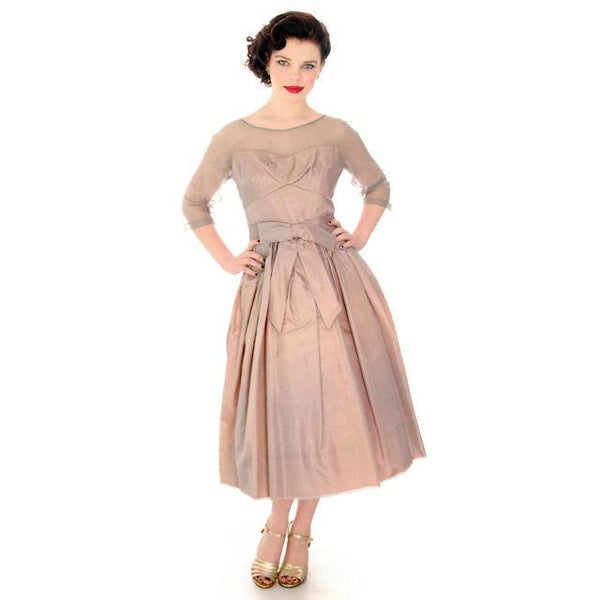 Vintage Party Dress Silk Organza in Mauve 1950s Ferman O'Grady 36-24-Free - The Best Vintage Clothing  - 1