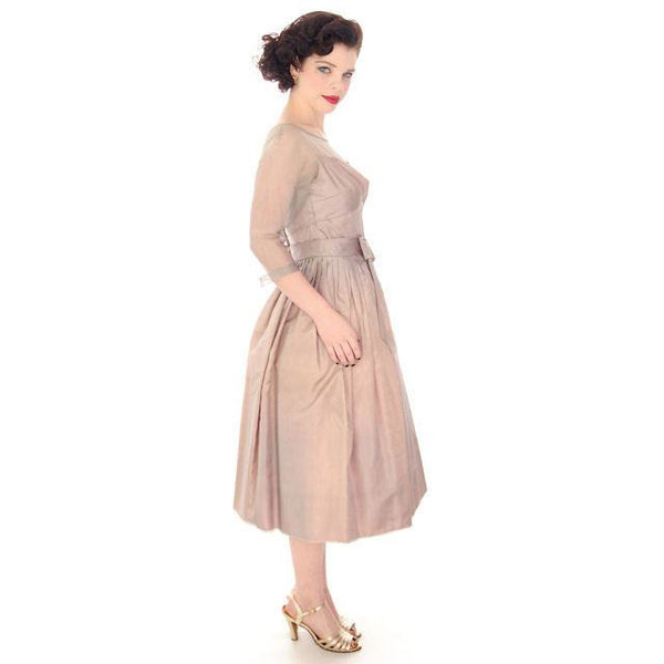 Vintage Party Dress Silk Organza in Mauve 1950s Ferman O'Grady 36-24-Free - The Best Vintage Clothing  - 6