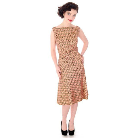 Vintage Adele Simpson Metallic Gold  & Apricot Silk Brocade Cocktail Dress 1950'S 38