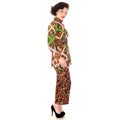 Vintage Pantsuit Polyester Balck & Bright Print 1970s S-M - The Best Vintage Clothing  - 2