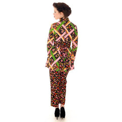 Vintage Pantsuit Polyester Balck & Bright Print 1970s S-M - The Best Vintage Clothing  - 6