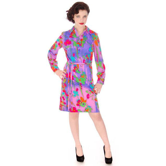 Vintage Shirt Dress Vivid Colors 1970'S Anika  38-42 Bust - The Best Vintage Clothing  - 1