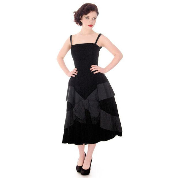 Vintage Black Velvet Gown Suzy Perette Exceptional New Look Late 1940s - The Best Vintage Clothing  - 1