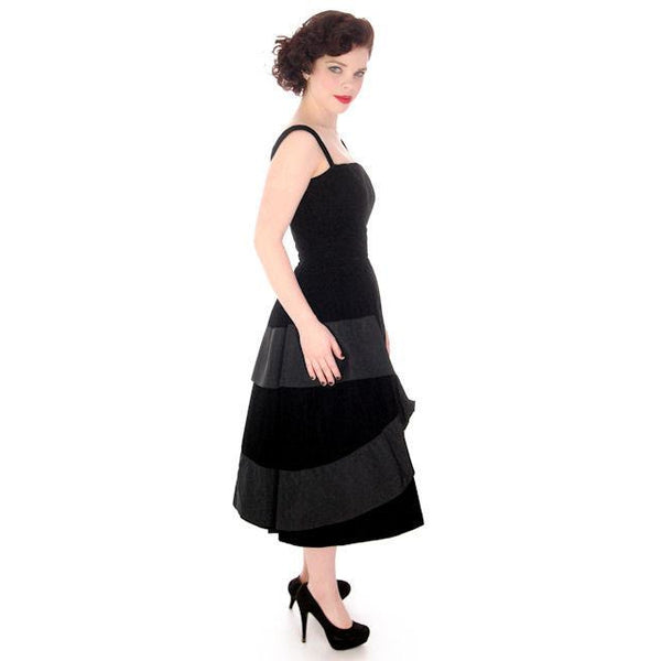 Vintage Black Velvet Gown Suzy Perette Exceptional New Look Late 1940s - The Best Vintage Clothing  - 2