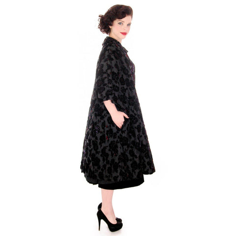 Vintage Fernande Desgranges France Burn-Out Velvet Evening Coat 1950s S-M