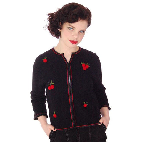 "Vintage Black Cashmere Sweater w/3D Cherries 1950s 37"" Bust"