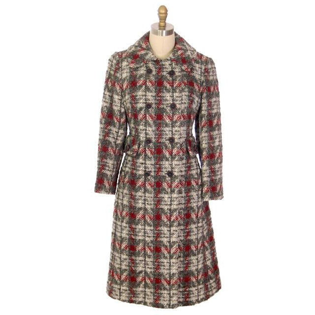 Vintage Ladies Wool Coat Gray & Red Plaid 1970 Classic Style 36 Bust - The Best Vintage Clothing  - 1