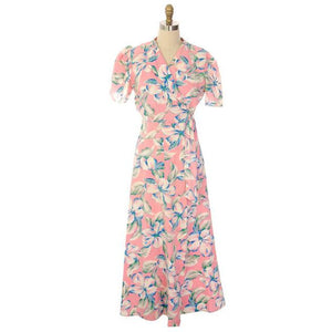 Vintage Pink Hawaiian Hibiscus Flower Robe Seersucker 1940s - The Best Vintage Clothing  - 1