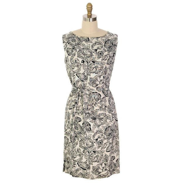Vintage 1960s Dress Morning Glory Print Irish Linen Shift Black & White 36-34-38 - The Best Vintage Clothing  - 1