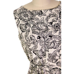Vintage 1960s Dress Morning Glory Print Irish Linen Shift Black & White 36-34-38 - The Best Vintage Clothing  - 4