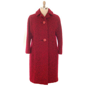 Vintage Red/ Black Mohair Boucle Sack Coat 1950s Medium - The Best Vintage Clothing  - 1