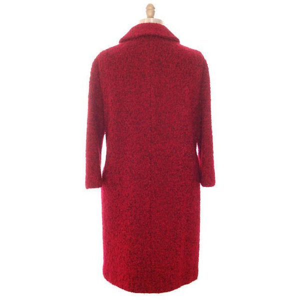 Vintage Red/ Black Mohair Boucle Sack Coat 1950s Medium - The Best Vintage Clothing  - 4