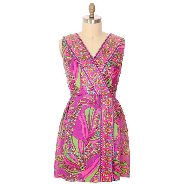 Vintage Dress Border Print Mini Dress Purple Pinks 1970S 40-32-46 - The Best Vintage Clothing  - 1