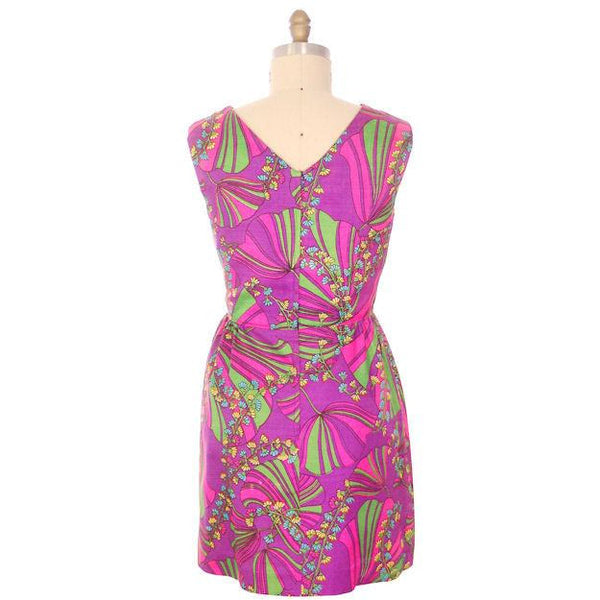 Vintage Dress Border Print Mini Dress Purple Pinks 1970S 40-32-46 - The Best Vintage Clothing  - 4
