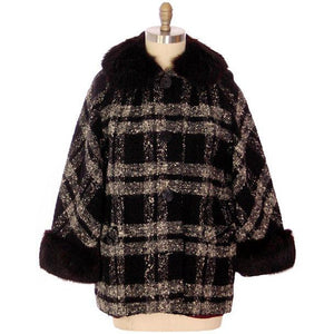 "Vintage Car Coat Black & White Mohair Tweed Fur Collar 1950s up to 46"" Bust - The Best Vintage Clothing  - 1"