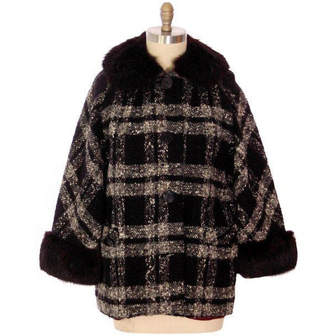 "Vintage Car Coat Black & White Mohair Tweed Fur Collar 1950s up to 46"" Bust"