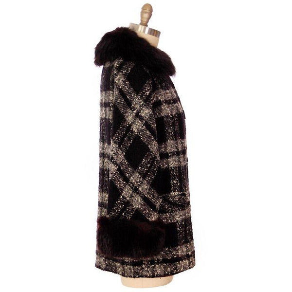 "Vintage Car Coat Black & White Mohair Tweed Fur Collar 1950s up to 46"" Bust - The Best Vintage Clothing  - 5"
