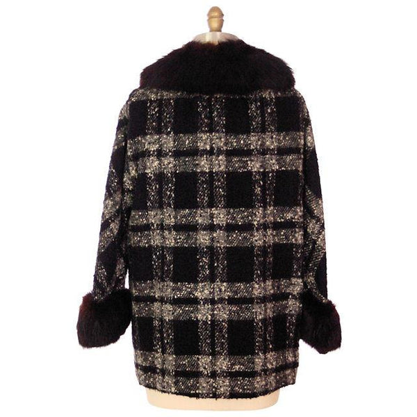"Vintage Car Coat Black & White Mohair Tweed Fur Collar 1950s up to 46"" Bust - The Best Vintage Clothing  - 2"