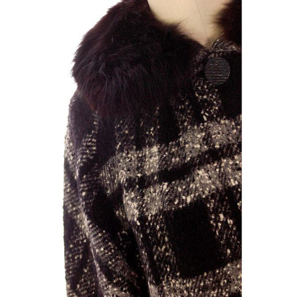 "Vintage Car Coat Black & White Mohair Tweed Fur Collar 1950s up to 46"" Bust - The Best Vintage Clothing  - 3"