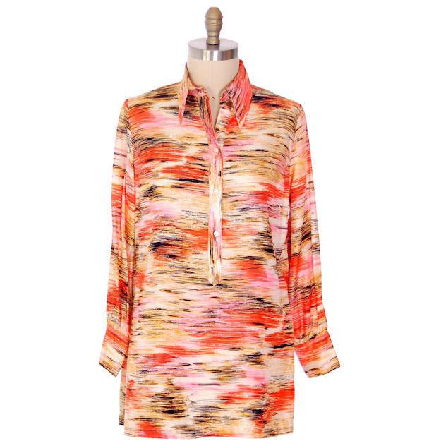"Vintage Shirtwaist Tunic Mini Dress Pink & Orange Abstract 1970'S 44"" Bust - The Best Vintage Clothing  - 1"