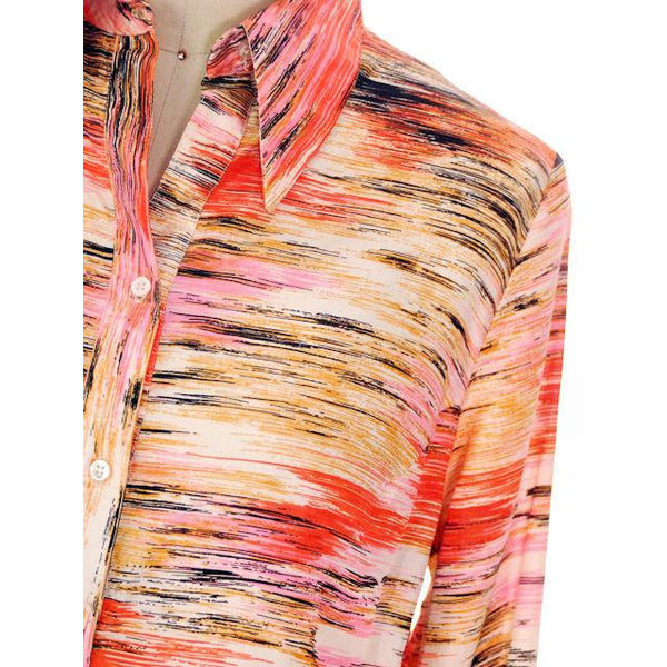 "Vintage Shirtwaist Tunic Mini Dress Pink & Orange Abstract 1970'S 44"" Bust - The Best Vintage Clothing  - 4"
