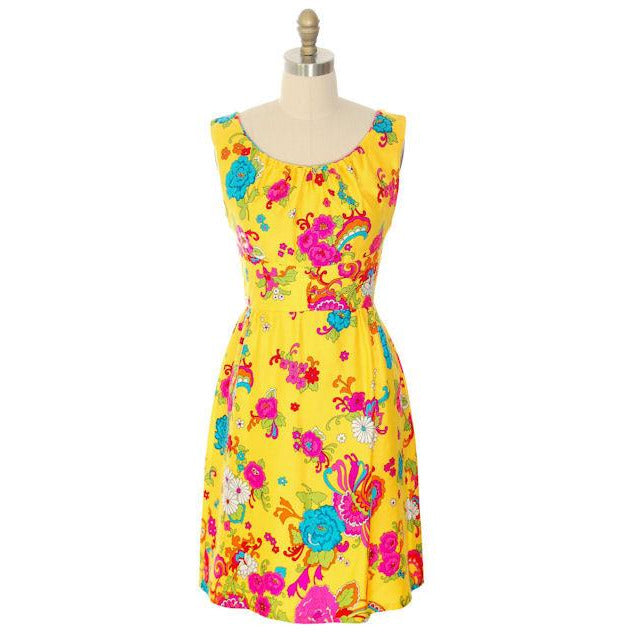 Vintage Dress Mod Hawaiian Short A-Line Dress Andrade 1970S - The Best Vintage Clothing  - 1