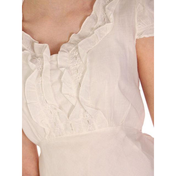 Vintage White Cotton Lawn Bias Cut Nightgown 1930s 36 Bust - The Best Vintage Clothing  - 4