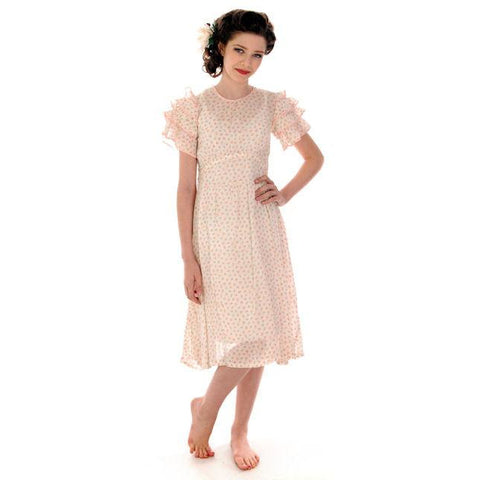 Young Lady's  Vintage Dress Printed Cotton 1920s  30-27-48 - The Best Vintage Clothing  - 1