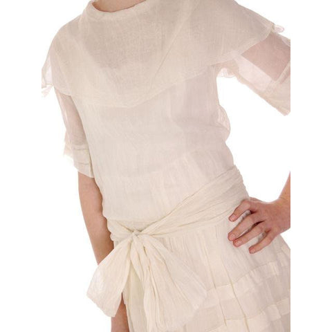 Vintage Young Womans Ivory Cotton Gauze Dress/Slip Early 1920s 32-32-42