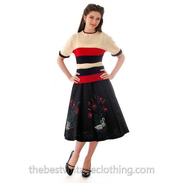 Vintage Circle Skirt Hand Painted Felt 1950s Small Smart Set - The Best Vintage Clothing  - 3