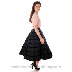Vintage Circle Skirt Black Taffeta  Velvet Circles 1940s Smart Set Small - The Best Vintage Clothing  - 2