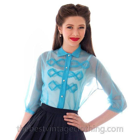 Adorable Vintage 1940s  Sheer Nylon Blouse Robins  Egg Blue Embellished Small