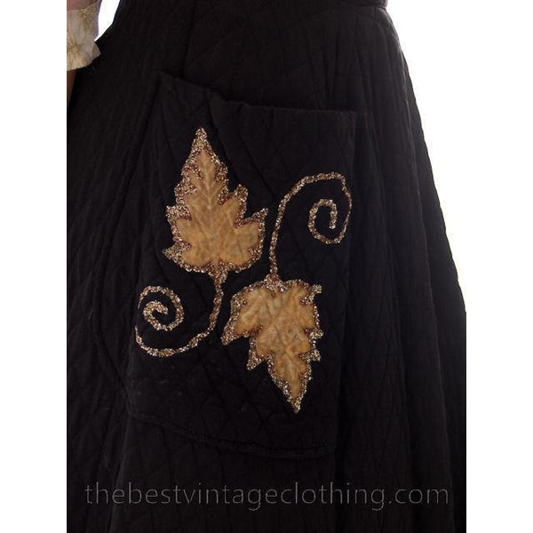 Vintage Quilted Circle Skirt Black Gold Glittery Leaf Motif Pocket 1940s 24 Waist - The Best Vintage Clothing  - 7