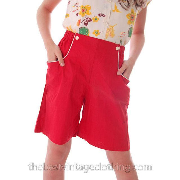 Vintage 1940s Shorts Womens High Waist Cotton  Red w/White Trim NOS 28 Waist - The Best Vintage Clothing  - 4