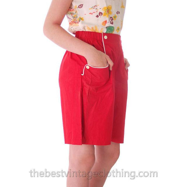 Vintage 1940s Shorts Womens High Waist Cotton  Red w/White Trim NOS 28 Waist - The Best Vintage Clothing  - 2