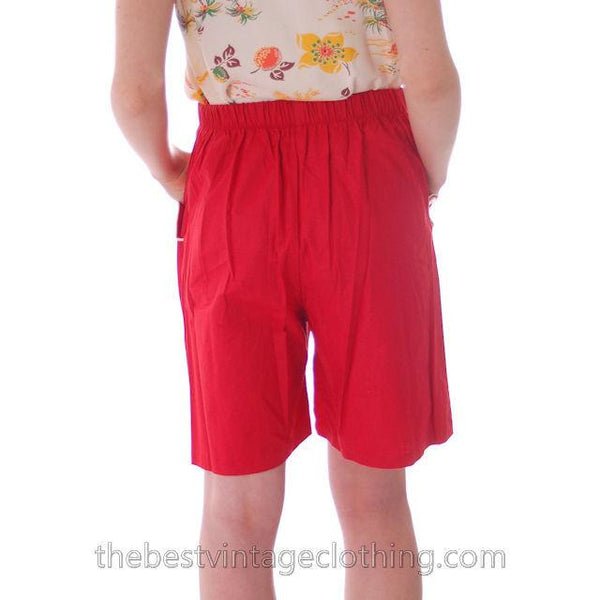 Vintage 1940s Shorts Womens High Waist Cotton  Red w/White Trim NOS 28 Waist - The Best Vintage Clothing  - 3