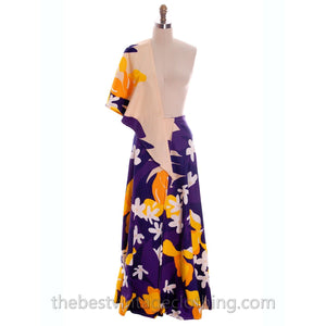 Vintage 70s Cotton Maxi Wrap Skirt & Scarf OO Rings Colorful Bold Print Small Purple Yellow - The Best Vintage Clothing  - 1